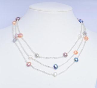 Ashiqi 120 см длинные жемчуг барокко Цепочки и ожерелья 925 серебро застежка ювелирные изделия