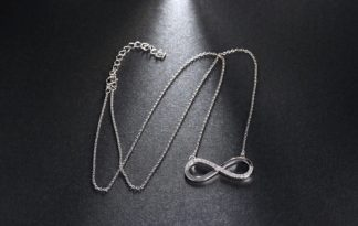ORSA JEWELS 2017 AAA Brilliant Austrian CZ Infinity Pendant Silver Color Necklace for Women/Lover Fashion Jewelry Gift ON112