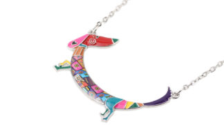 Bonsny Statement Maxi Metal Chain Enamel Pet Choker Dachshund Dog Necklace PendantCollar 2017 New Animal Jewelry For Women Girl