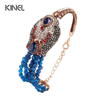 Kinel Natural Stone Crystal Beads Bracelet For Women Antique Gold Covered With Crystal Blue Punk Rock Bracelet Gift