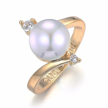 New Collection Boho Round Pearl Bead Ring Luxury Crystal Paved Yellow Gold Copper Ring for Women Love Jewelry Mother Days Gift